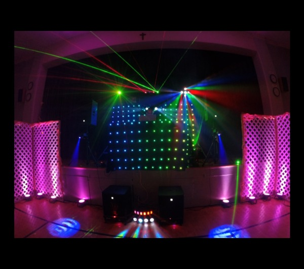 House DJ with LED Backdrop & LED Booth