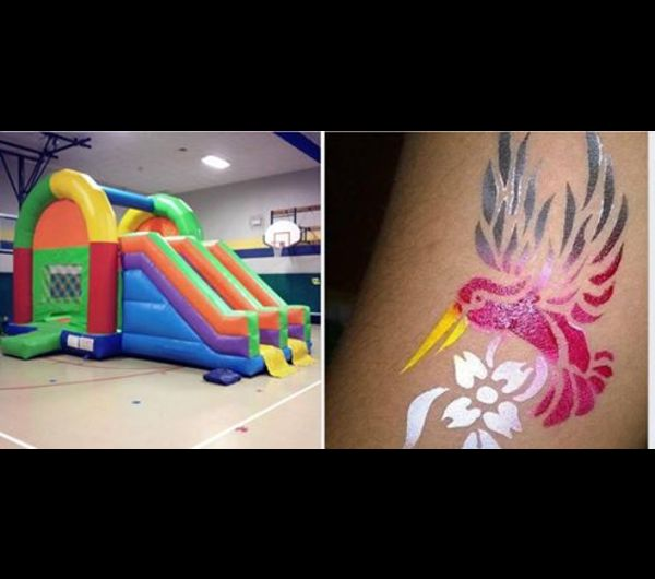 double slide bounce house & face painting
