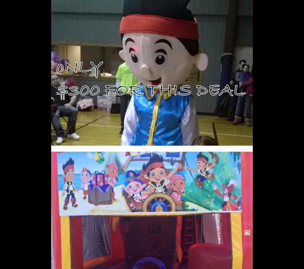 JAKE & THE NEVERLAND PIRATES CHARACTER & BOUNCE HOUSE COMBO