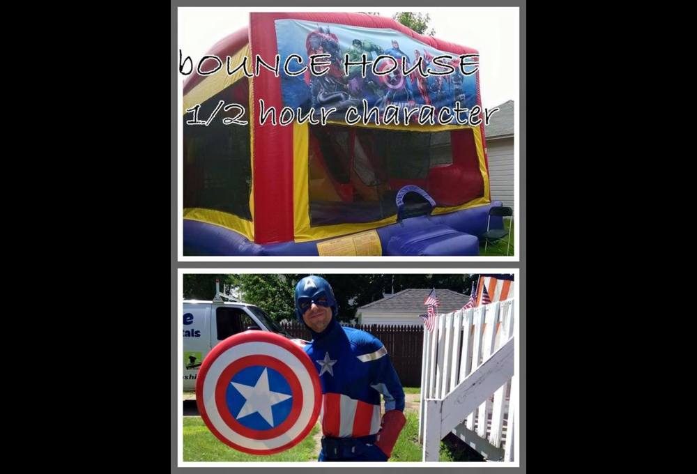 CAPTAIN AMERICA CHARACTER & BOUNCE HOUSE COMBO