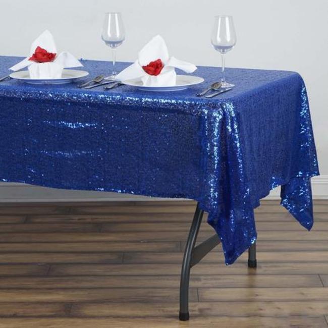 60 x 102 sequin tablecloth- royal blue