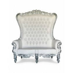 Silver/white double settee throne