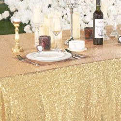 60x102 Sequin Tablecloth- light gold