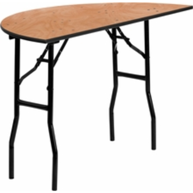 48'' HALF-ROUND WOOD FOLDING TABLE