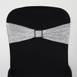 SPANDEX CHAIR SASH -METALLIC SILVER
