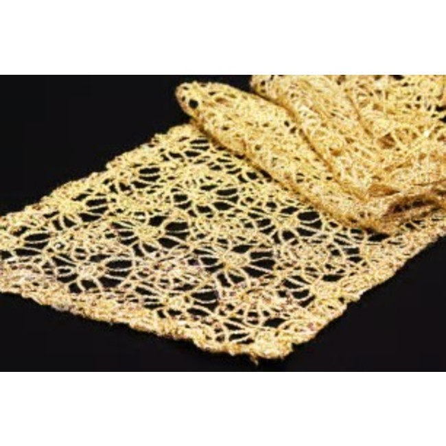 14X108 CHEMICAL LACE TABLE RUNNER- GOLD