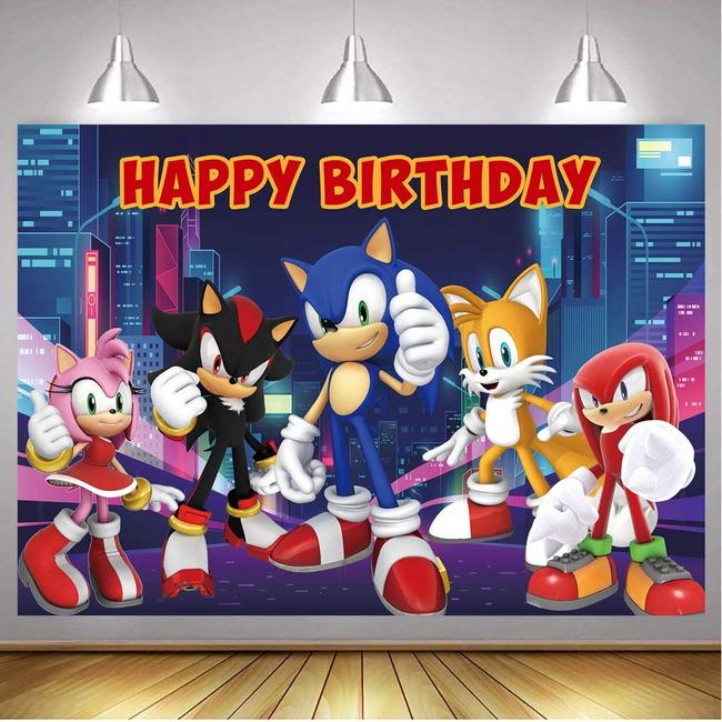 7x5ft Happy Birthday Sonic Backdrop