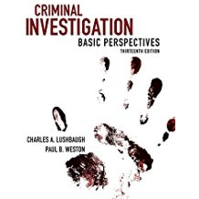 New| LUSHBAUGH / CRIMINAL INVESTIGATION| Instructor: BALCH