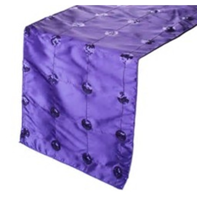 14 x 108 TAFFETA SEQUIN TABLE RUNNER- PURPLE
