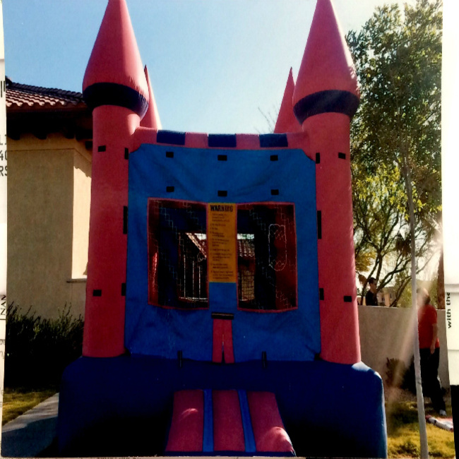 Pink Castle Bounce House  (Choose your Banner)