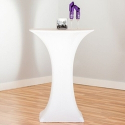 High Boy Table w/White Stretch Cover
