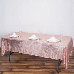 60x102 Sequin Tablecloth- rose gold