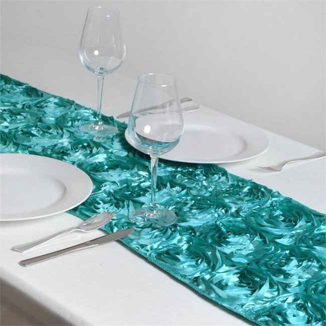 Turquoise rosette table runner  14