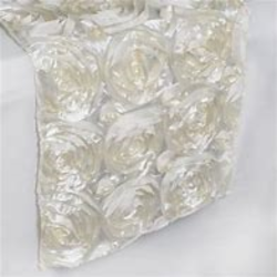 Rosette White Satin Runner - 14