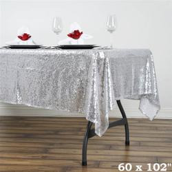 60x102 Sequin Tablecloth-silver