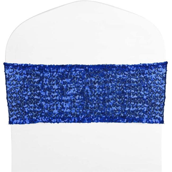 Royal blue sequin spandex chair band