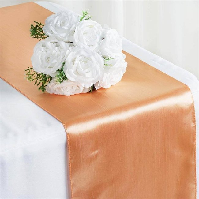 12 X 108 SATIN TABLE RUNNER- PEACH