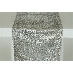 12 X108 PREMIUM SEQUIN TABLE RUNNER- SILVER