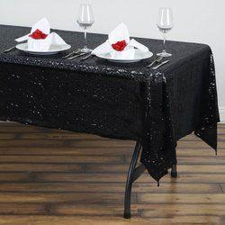 60x102 Sequin Tablecloth-black