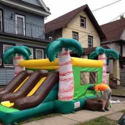 double  slide bounce house for indoor party & outdoor
