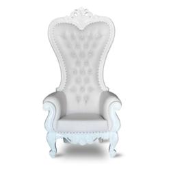 White/white high back throne