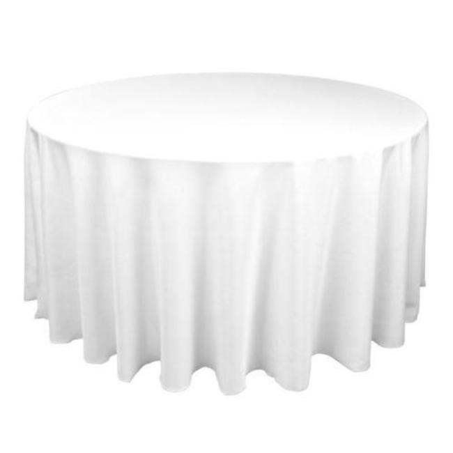 Round White Linen