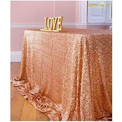 60 x 102 Sequin tablecloth- rose gold