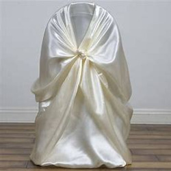 Universal satin ivory chair cover