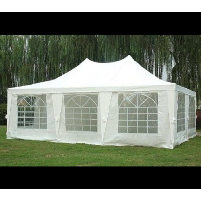 20' X 30' Deluxe White Canopy Pole Tent Package, Complete Set with Sidewalls