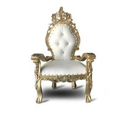 Kids' gold/white leaf throne chaise