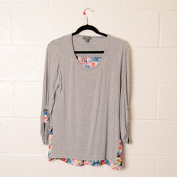 Market & Spruce Grey Long-sleeve Flowery Back