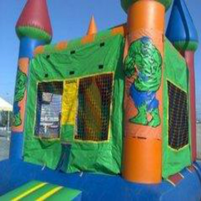 Green Castle Bounce House (Choose your Banner)