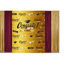 8'x10' Congratulation Backdrop-gold