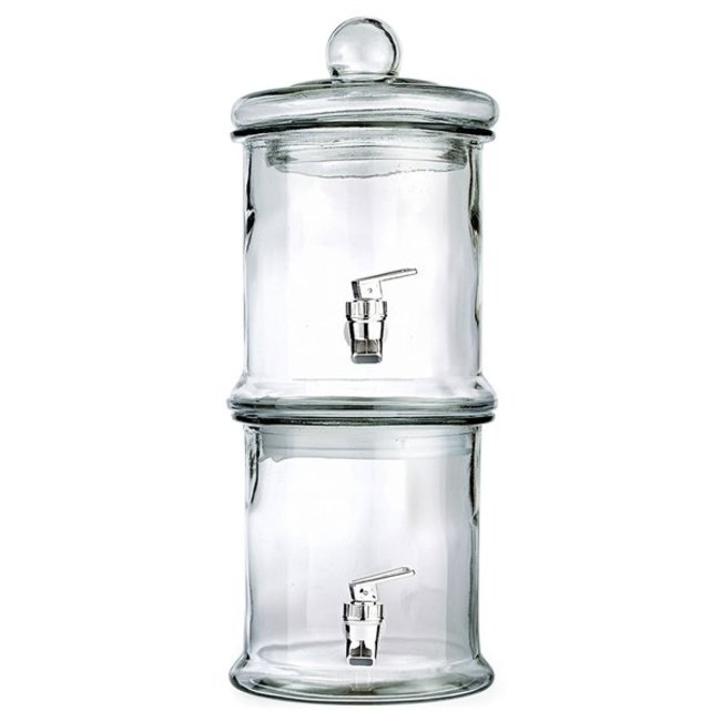 Beverage server- double stack- clear glass