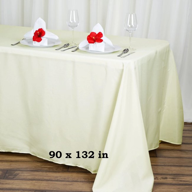 90X 132 POLYESTER TABLECLOTH- IVORY