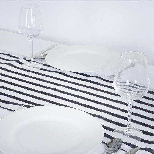 black/white table runner satin