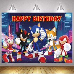 7x5ft Happy Birthday Sonic Backdrop