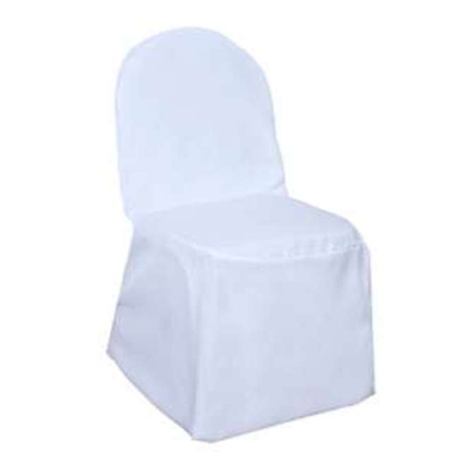 POLYESTER BANQUET CHAIR COVER- WHITE